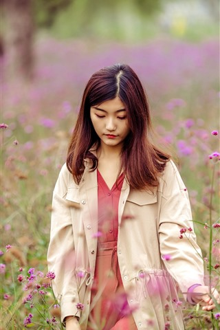 iPhone Wallpaper Sadness girl, pink wildflowers, hazy