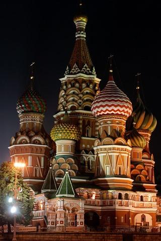 iPhone Wallpaper Saint Petersburg, Russia, church, night, lights