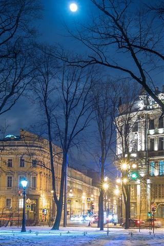 iPhone Wallpaper Saint Petersburg, Russia, trees, snow, buildings, night