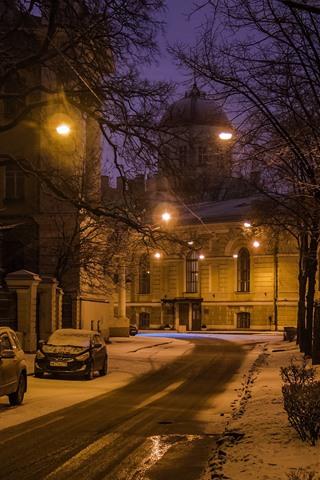 iPhone Wallpaper Saint Petersburg, night, snow, trees, lights, road, cars, winter, Russia