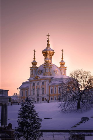 iPhone Wallpaper Saint Petersburg, thick snow, church, trees, morning, winter