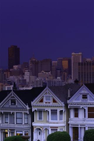iPhone Wallpaper San Francisco, USA, city, night, houses, moon