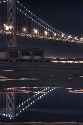 iPhone Wallpaper San Francisco, bridge, lighting, night, USA