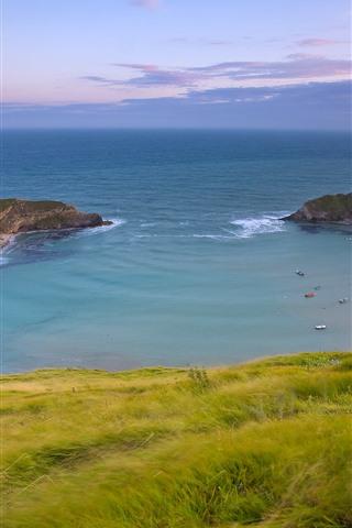 iPhone Wallpaper Sea, bay, grass, beautiful nature landscape