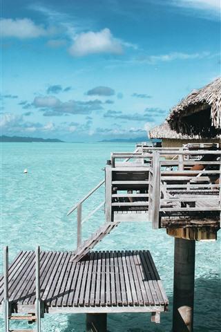 iPhone Fondos de pantalla Mar, playa, agua clara, cabaña, resort, tropical.