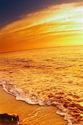 iPhone Wallpaper Sea, beach, golden style, sunset