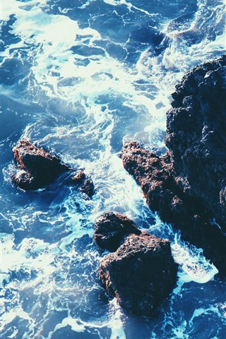 iPhone Fondos de pantalla Mar, rocas, arrecife, olas, espuma