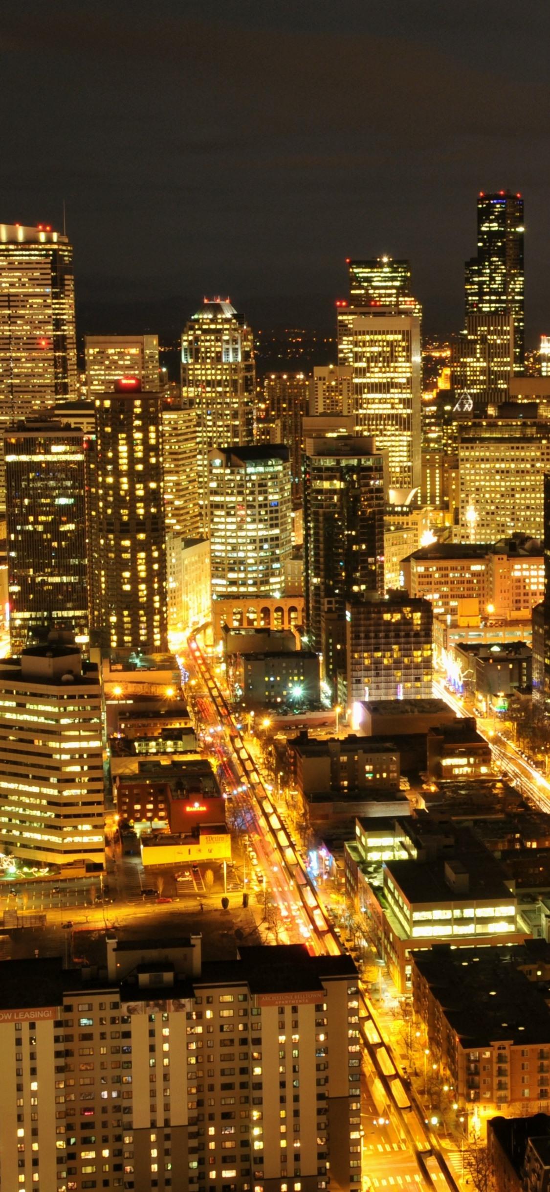 Seattle Usa City Night Skyscraper Lights 1125x2436