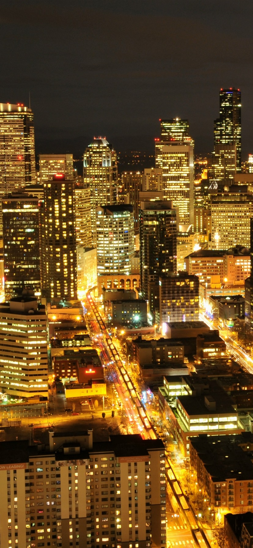 Seattle Usa City Night Skyscraper Lights 1125x2436 Iphone 11 Pro Xs X Wallpaper Background Picture Image