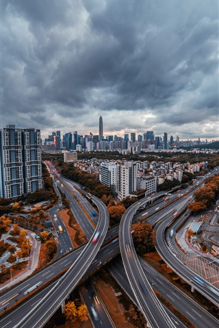 iPhone Wallpaper Shenzhen, cityscape, roads, skyscrapers, clouds, dusk, China
