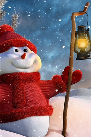 iPhone Wallpaper Snowman, hat, sweater dress, snow, lantern, winter