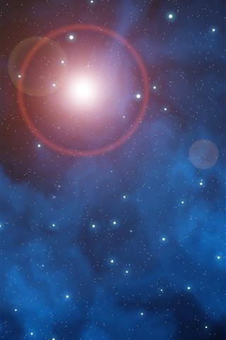 iPhone Fondos de pantalla Espacio, estrellas, brillo, sol.