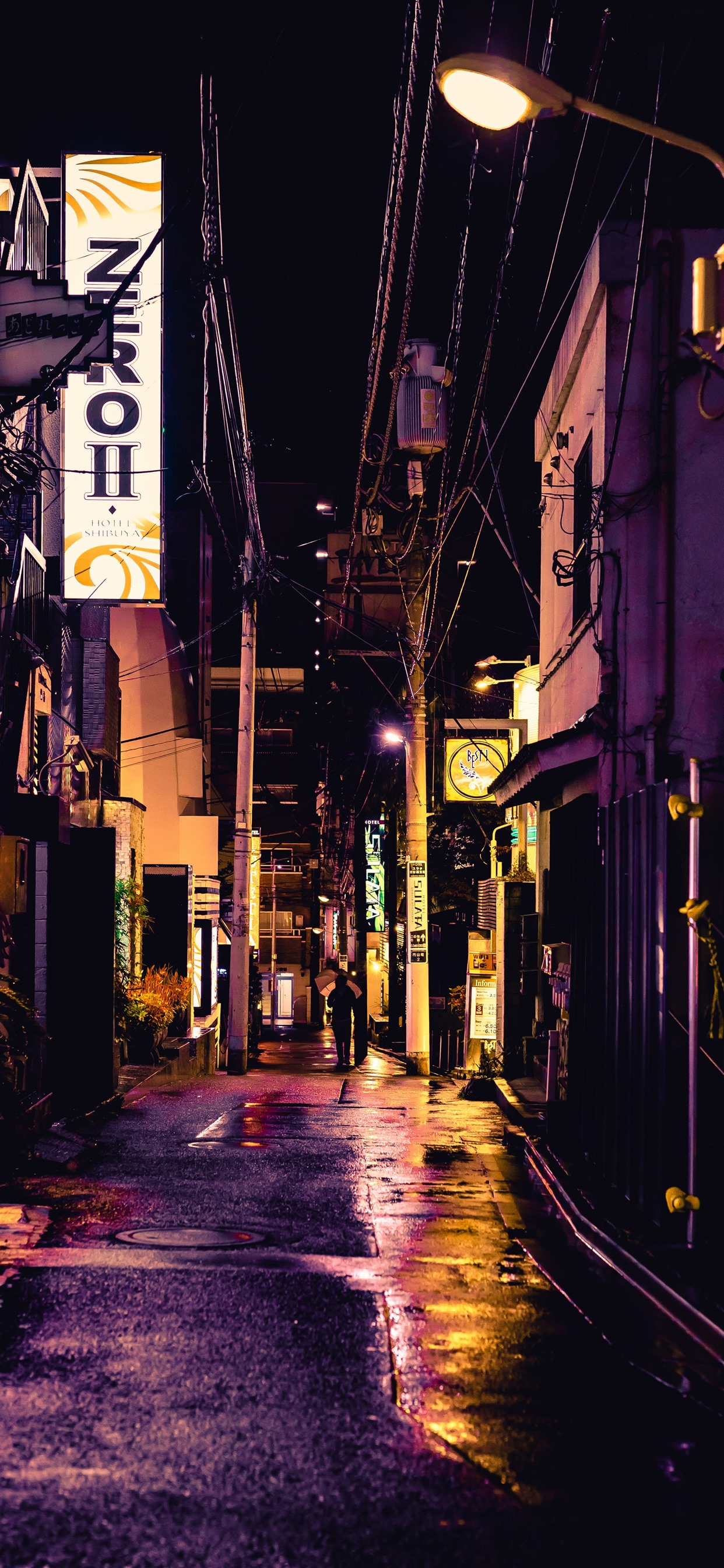 Street City Alley Night Lights Japan 1242x2688 Iphone