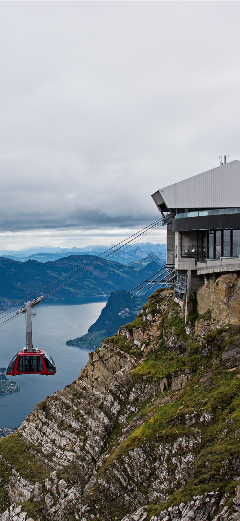 Wallpaper Switzerland Pilatus mountains slope trees train