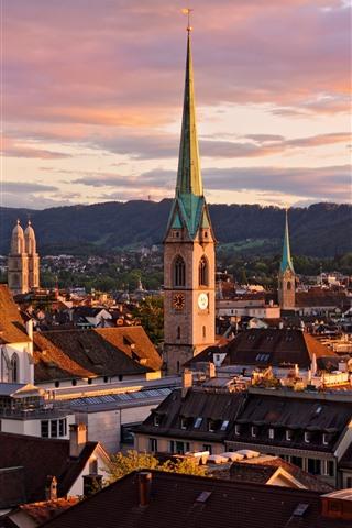 iPhone Fondos de pantalla Suiza, Zurich, paisaje urbano, casas, montañas, nubes, anochecer