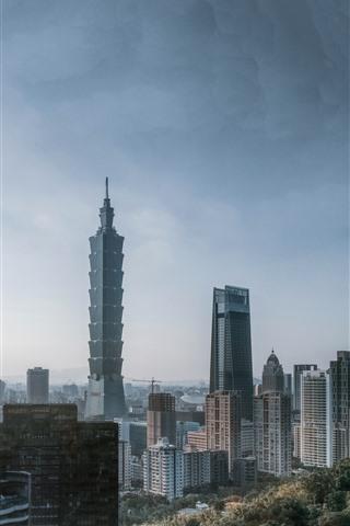 iPhone Wallpaper Taipei 101, Taiwan, skyscrapers, city