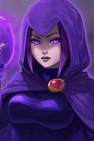 iPhone Fondos de pantalla Teen Titans, chica de pelo púrpura, DC comics