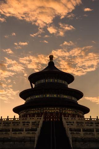 iPhone Fondos de pantalla Templo del cielo, atardecer, nubes, Beijing, China