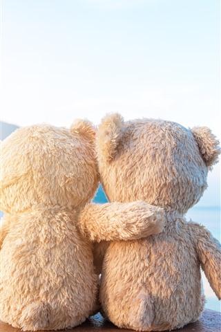 iPhone Wallpaper Two teddy bears, friends, rear view