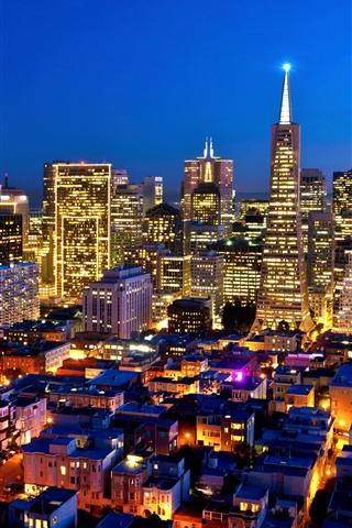 iPhone Wallpaper USA, California, city, night, skyscrapers, lighting