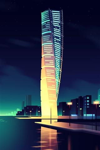iPhone Hintergrundbilder Vector Bild, Stadt, Wolkenkratzer, Farben, Nacht