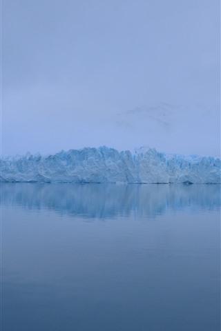 iPhone Wallpaper Winter, ice, fog, lake, dawn