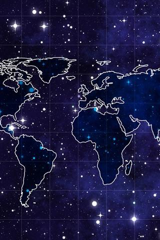 iPhone Fondos de pantalla Mapa del mundo, estrellado, espacio