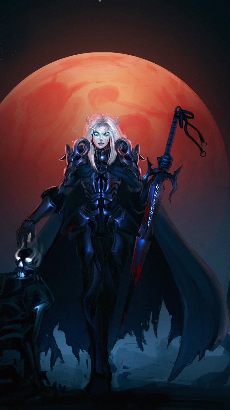 World Of Warcraft Wow Girl Sword Moon 750x1334 Iphone 8 7 6 6s