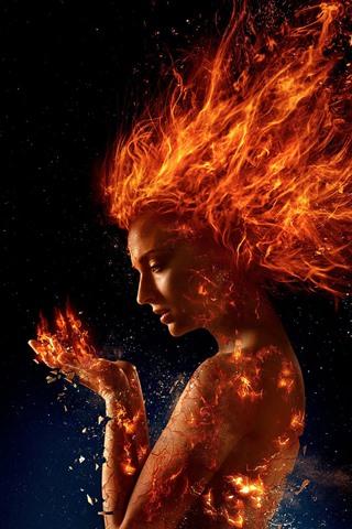 iPhone Wallpaper X-Men: Dark Phoenix, girl, fire