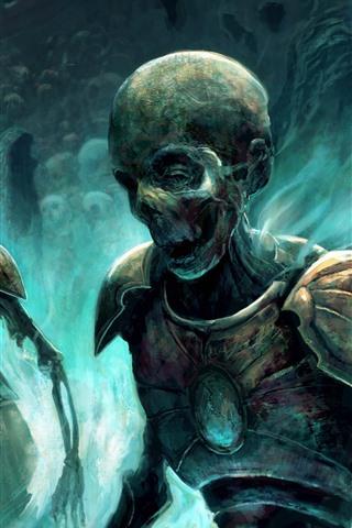 iPhone Wallpaper Zombies, skull, warrior, art picture