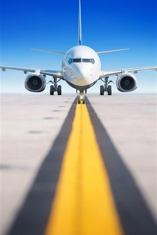 iPhone Wallpaper Airport, passenger airplane, runway, front view