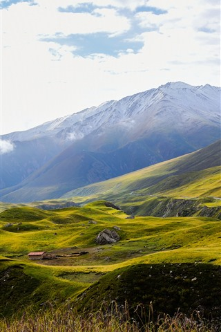 iPhone Wallpaper Animaqing Snow Mountain, slope, green, clouds, China
