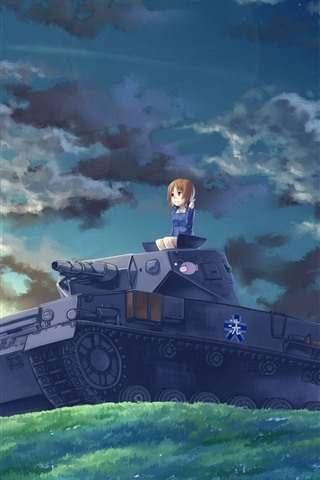 iPhone Wallpaper Anime girl and tank, clouds