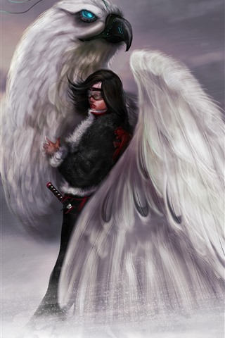 iPhone Wallpaper Art picture, girl and big bird
