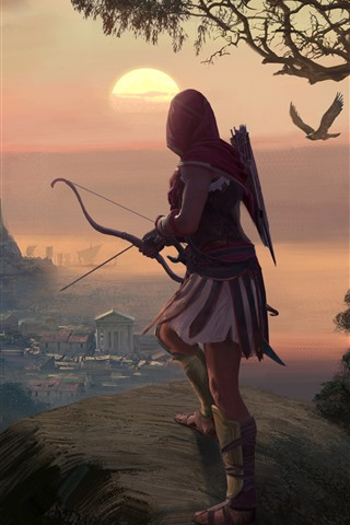 iPhone Wallpaper Assassin's Creed: Odyssey, girl, archer, Greece, art picture