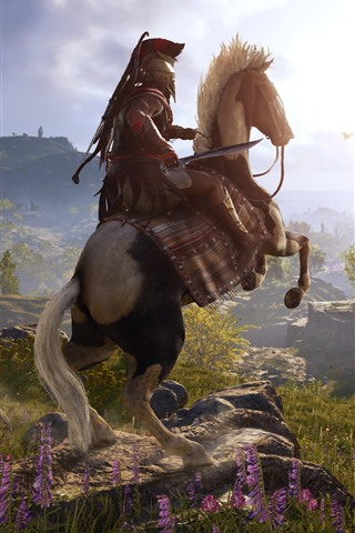 iPhone Wallpaper Assassin's Creed: Odyssey, horse, village