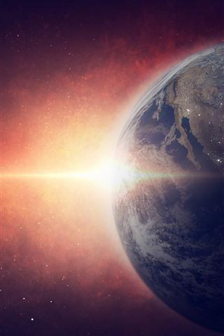 iPhone Wallpaper Astronaut, Earth, space, weightlessness, sunlight