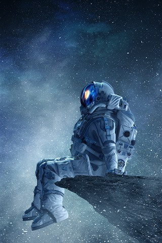 iPhone Wallpaper Astronaut, planet, stars, beautiful space