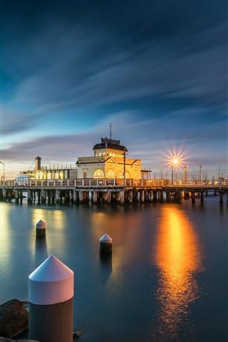 iPhone Wallpaper Australia, dock, lights, night, river