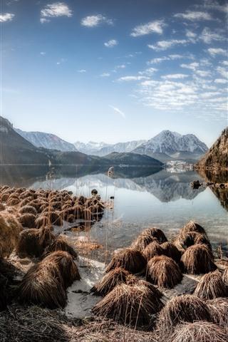 iPhone Wallpaper Austria, Altaussee, lake, mountains, plants, sunshine