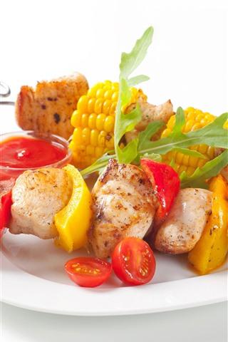 iPhone Wallpaper BBQ, kebabs, corn, tomato, white background