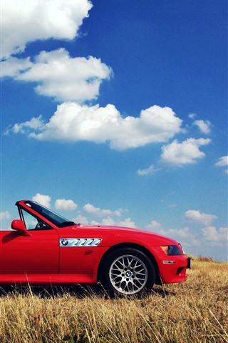 iPhone Wallpaper BMW Z3 red cabrio, grass
