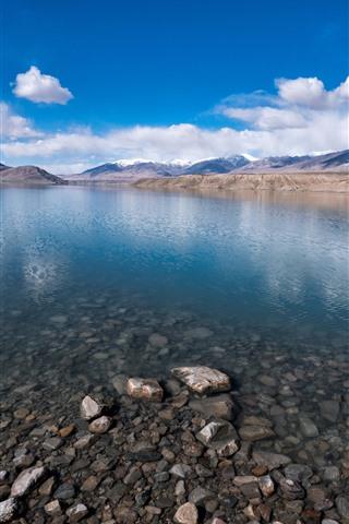 iPhone Wallpaper Baisha Lake, Xinjiang, mountains, clouds, stones, China