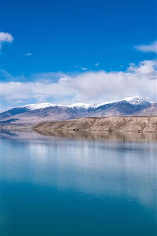 iPhone Wallpaper Beautiful Baisha Lake in Xinjiang, clear water, mountains, clouds, China