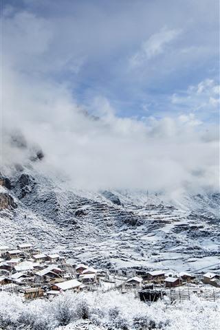 iPhone Wallpaper Beautiful Gannan, mountain, snow, village, winter, China