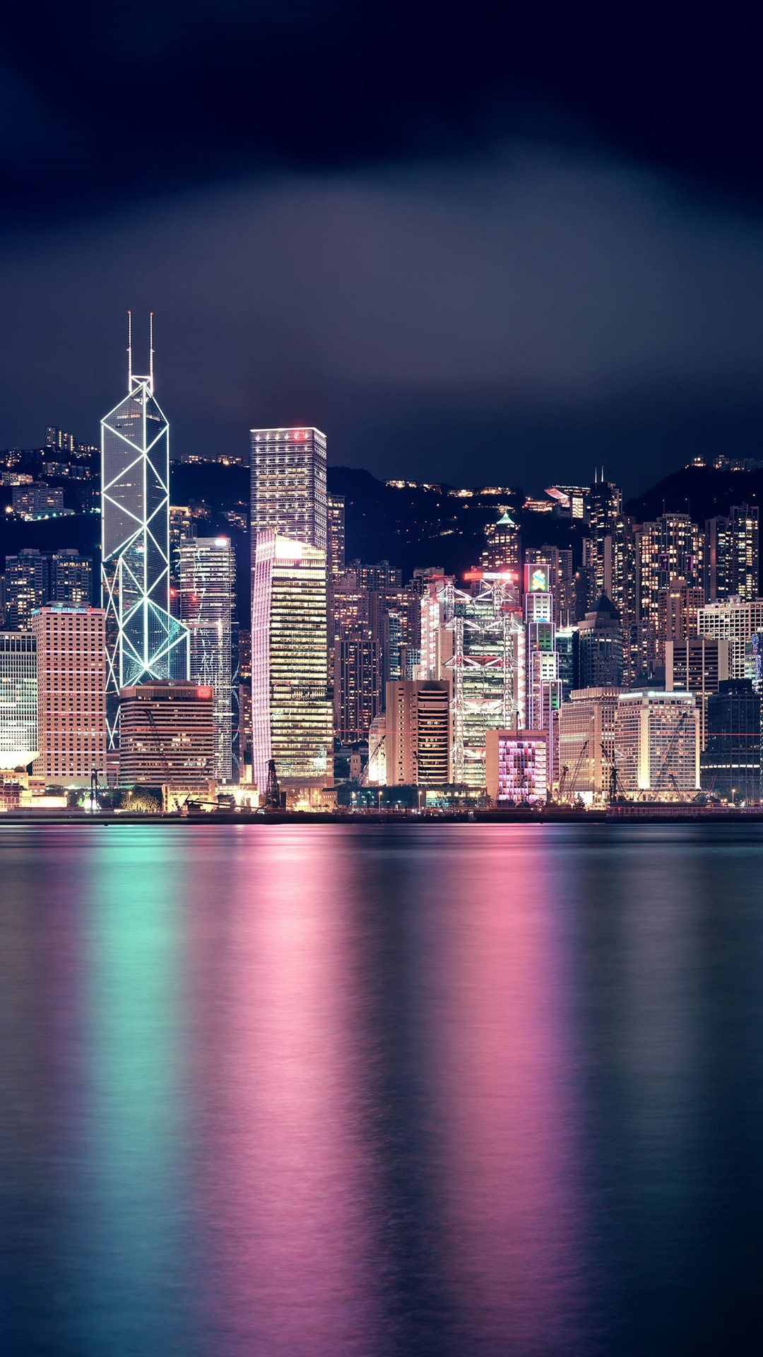 Beautiful City At Night Hong Kong Skyscrapers Lights Sea 1125x2436 Iphone 11 Pro Xs X Wallpaper Background Picture Image