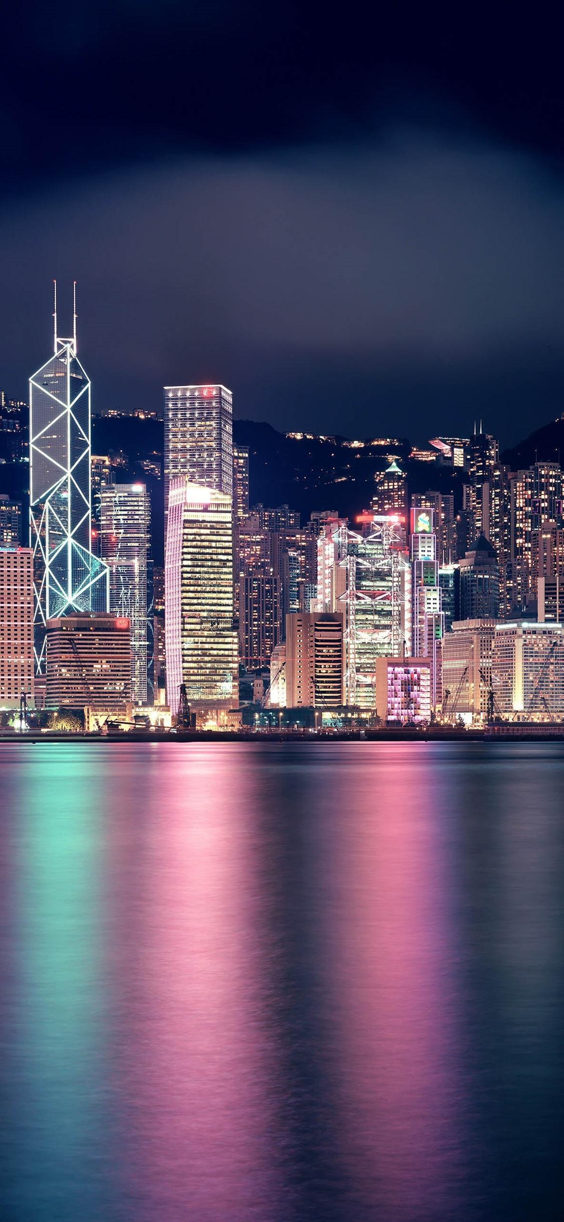 Beautiful City At Night Hong Kong Skyscrapers Lights Sea