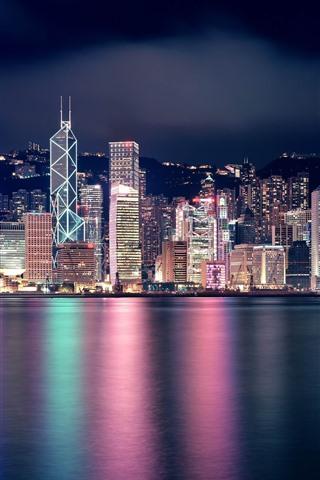 iPhone Wallpaper Beautiful city at night, Hong Kong, skyscrapers, lights, sea