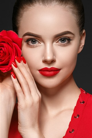 iPhone Wallpaper Beautiful girl, makeup, red rose