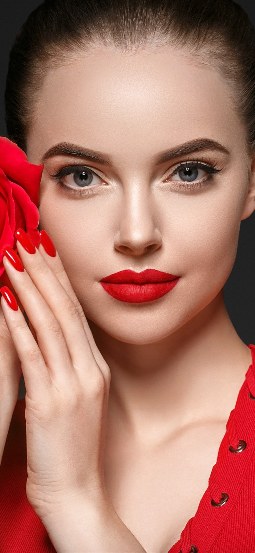 Beautiful Girl Makeup Red Rose 828x1792 Iphone 11 Xr Wallpaper Background Picture Image